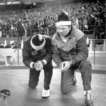 Some prayers are answered: Gateway coach Pete Antimarino, left, and his son, Pete Jr., pray for the Gators to stop North Hills' two-point conversion attempt in the 1986 title game. Gateway's Todd Washington intercepted the conversion pass as the Gators upset the nation's top-ranked team, 7-6.