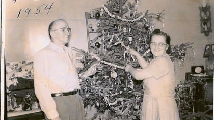 "Anton Cindrich, or ""Dedo,"" with his wife, Jane, in their South Side home  in December 1954."