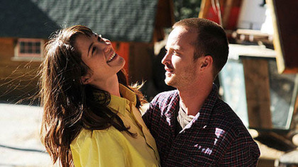 "Mary Elizabeth Winstead and Aaron Paul in ""Smashed."""