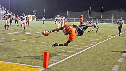 Star player Tyler Boyd leaps for the end zone during the Bears 39-0 win over Brentwood in the WPIAL Class A quarterfinals. Boyd is a nationally ranked running back and has received scholarship offers from a list of schools that includes Purdue, Boston College, Notre Dame, Penn State and the University of Illinois.