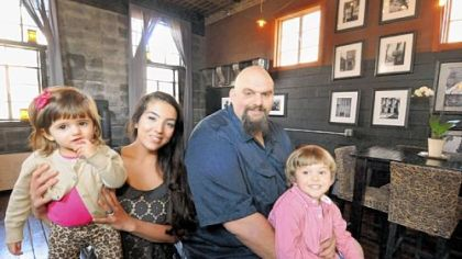 Braddock Mayor John Fetterman at home with his wife, Gisele; son, Karl; and daughter, Grace.