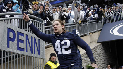 Injured Penn State linebacker Michael Mauti is introduced during a senior recognition ceremony before the game.
