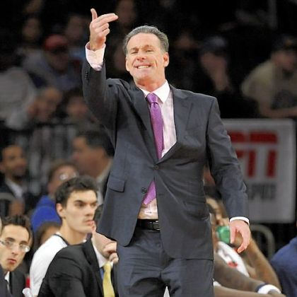 Pittsburgh coach Jamie Dixon gestures during the second half against Delaware in an NCAA college basketball in a consolation game at the NIT Season Tip-Off tournament at Madison Square Garden in New York, Friday, Nov. 23, 2012.