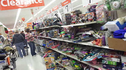 The clearance toy aisle at the Walmart in North Fayette was in a state of disorder by 11 a.m.