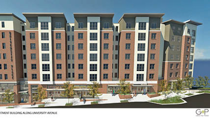 Sketch of planned University Place, apartment building along University Ave.