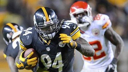 Steelers linebacker Lawrence Timmons intercepts a pass against the Chiefs in overtime Monday at Heinz Field.