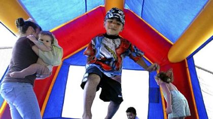 Every day, 31 children are seen in hospital emergency rooms nationwide with injuries suffered while playing in bounce houses such as this, according to a new study.
