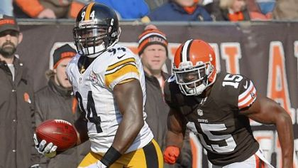 Lawrence Timmons returns an interception for a touchdown Sunday against the Browns.