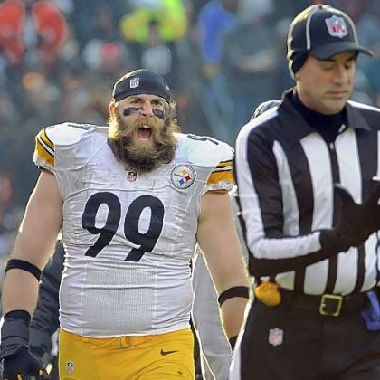 Brett Keisel yells at a referee after a call against the Steelers as they take on the Browns Sunday in Cleveland.