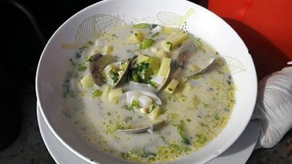 A bowl of New England Clam Chowder from Penn Avenue Seafood Co.