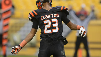 Tyler Boyd celebrates a touchdown during the Bears' 58-21 win against Sto-Rox Friday at Heinz Field.
