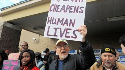 Mel Packer of Point Breeze was one protester outside the Waterworks Walmart.