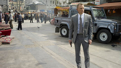 "Daniel Craig, in a Tom Ford suit, as James Bond in ""Skyfall."""