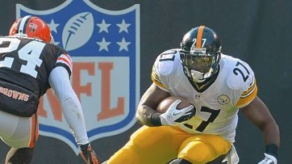 Steelers Jonathan Dwyer makes move up field on the Browns Sheldon Brown.