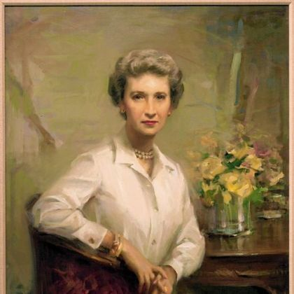 A 1974 portrait by Everett Raymond Kinstler of Sarah Mellon Scaife, who was a guiding hand for Leon Arkus.