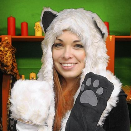 Ivana Kelly, at Ivana&#039;s Igloo, wears one of her animal hoods with paw mittens at the bottom of the  attached scarf.