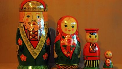 Closeup of Soviet-era nesting doll at the European Folk Art booth.