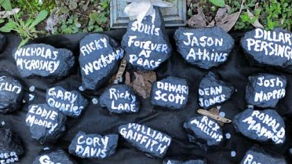 Shortly after the mine disaster, this temporary memorial to the victims went up along Route 3 in Whitesville, W.Va., with their names on lumps of coal.