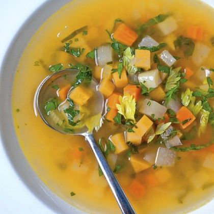 "Root Vegetable Soup from ""Fire in My Belly"" by Kevin Gillespie with David Joachim."