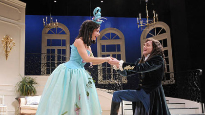 "Robin Abramson as Eliante and Joel Ripka as Philinte in PICT's colorful production of ""The School for Lies."""