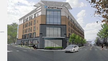 Architect&#039;s rendering of proposed Hyatt House hotel at Baum Boulevard and Atlantic Avenue in Bloomfield.