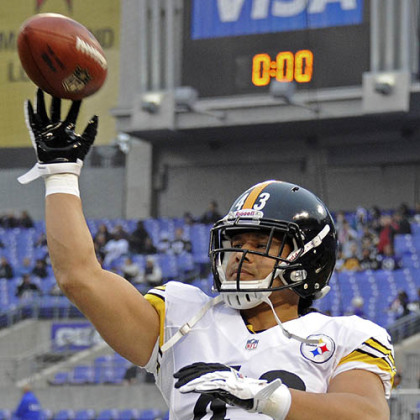 The Steelers' Troy Polamalu warms up before the Steelers vs. Ravens game.