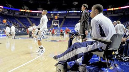 Penn State's Tim Frazier watches as his teammates warm up before their game against Boston College, Wednesday, Nov. 28.