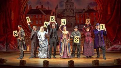 "Tandy Karl, left, Peter Benson, Betsy Wolfe, Will Chase, Jessie Mueller, Robert Creighton, Chita Rivera and Gregg Edelman star in ""The Mystery of Edwin Drood,"" based on Dickens' final novel."
