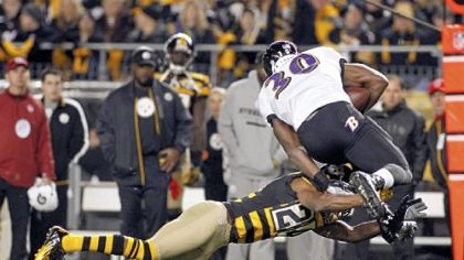 Ike Taylor takes down Bernard Pierce in the first game Nov. 18.