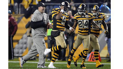 The Steelers offense that committed eight turnovers last week in Cleveland will look a whole lot better when Ben Roethlisberger, left, is back running it.
