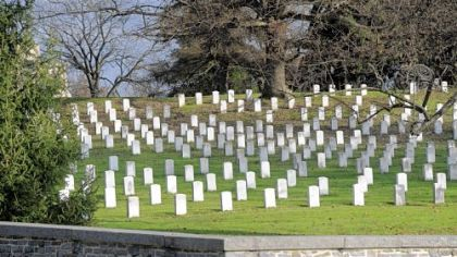 Graves of Union soldiers dot the hillside of the National Cemetery not far from where President Lincoln gave his Gettysburg Address.