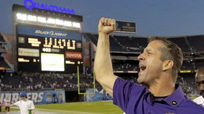 Baltimore coach John Harbaugh celebrates last week in San Diego.