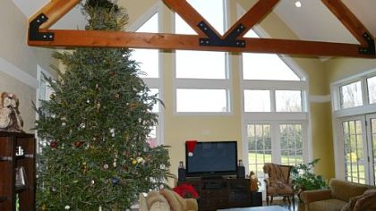 The family room in John and Mohylyn Yocca's house with a 15-foot Frazer fir.