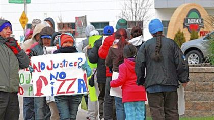 Protestors picket at Palermo's Pizza Nov. 17 in Milwaukee, Wis.
