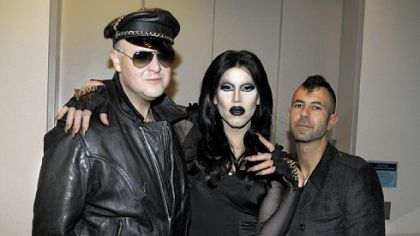 Warhol director Eric Shiner, Sharon Needles and artist Jeremy Kost.