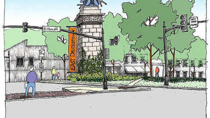 The proposed North Side gateway improvements, designed by Pashek Associates.