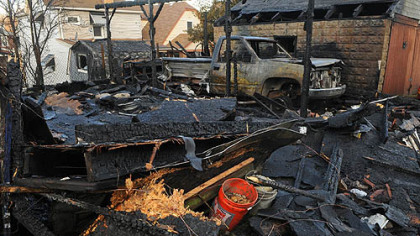 Several garages along Cherry Way in Glassport were burned to the ground early Tuesday morning.