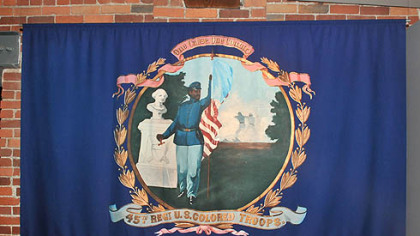 "A banner used by ""colored"" troops during the Civil War."