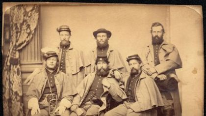 "This image of 6 messmates of Company D, 149th Pennsylvania ""Bucktails,"" is from Ken Turner's collection. It appears on the cover and page 254 of ""The Civil War in Pennsylvania: A Photographic History."""