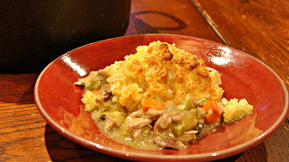 Turkey Pot Pie with Cheddar Biscuits.