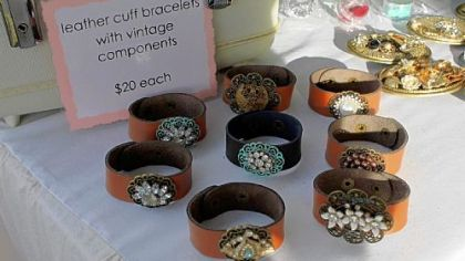 Leather cuff bracelets with vintage componets are among the items that will be available at the ninth annual Handmade Arcade.