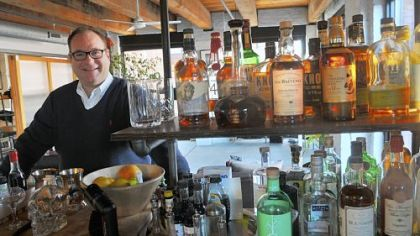 Dutch DeVries at the bar in his Strip District loft: &quot;To me, cocktails are a lot like baking. It&#039;s a formula.&quot;