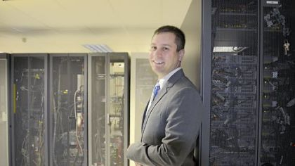 Eric Molitor, vice president for technology operations for West Penn Allegheny Health System, in the data center at One Allegheny Center.