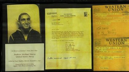 Artifacts relating to Andrew Marze's death at Pearl Harbor are on display at Soldiers & Sailors.