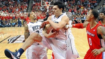 Pitt&#039;&#039;s Steven Adams pulls down a rebound against Duquesne in the first half of the City Game Wednesday night at Consol Energy Center.