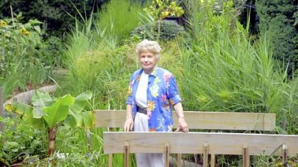 Irene Jacob, shown here in 2003, co-founded the Rodef Shalom Biblical Garden with her husband, Walter, who was the rabbi at Rodef Shalom for decades.