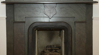 One of the seven fireplaces in the house at 121 Hays Road.