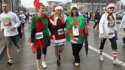 Left to right: Susan Grimm, Anastasia Hoydich and Betsy Scheidemantel brought holiday cheer to the Arthritis Foundation's Jingle Bell Run/Walk held Saturday morning on Pittsburgh's North Side.