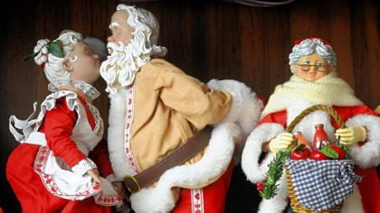 Part of a Santa display in the home's entry way.