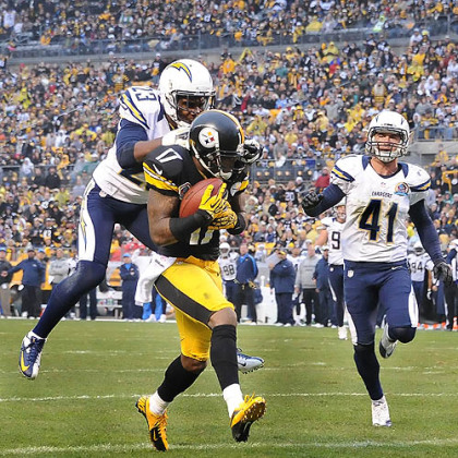 Mike Wallace hauls in a touchdown pass from Ben Roethlisberger.